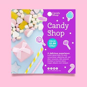 Modello di volantino quadrato per negozio di caramelle