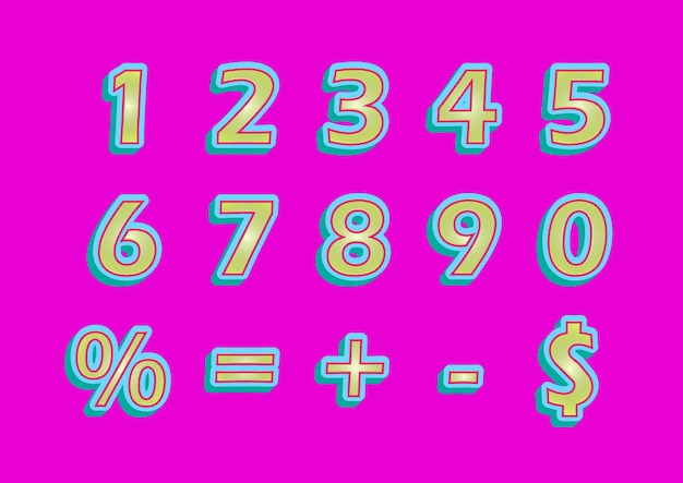 Set di numeri 3d candy sweet