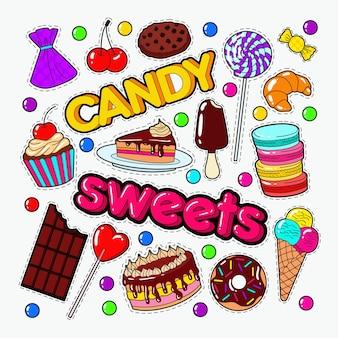 Caramelle e dolci doodle con cioccolato e gelato