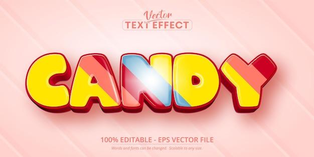 Testo della caramella, effetto di testo modificabile in stile cartone animato