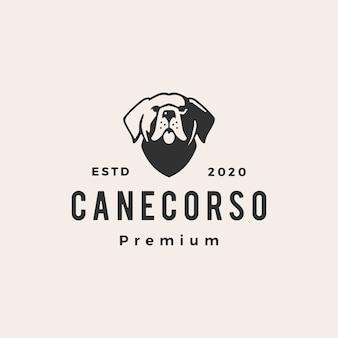 Illustrazione d'annata dell'icona di logo dei pantaloni a vita bassa del cane di corso della canna