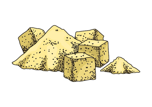 Zucchero di canna. prodotto dalla pianta della canna da zucchero. incisione disegnata a mano cibo biologico naturale o ingrediente naturale. zucchero fresco in mucchio e cubetti.