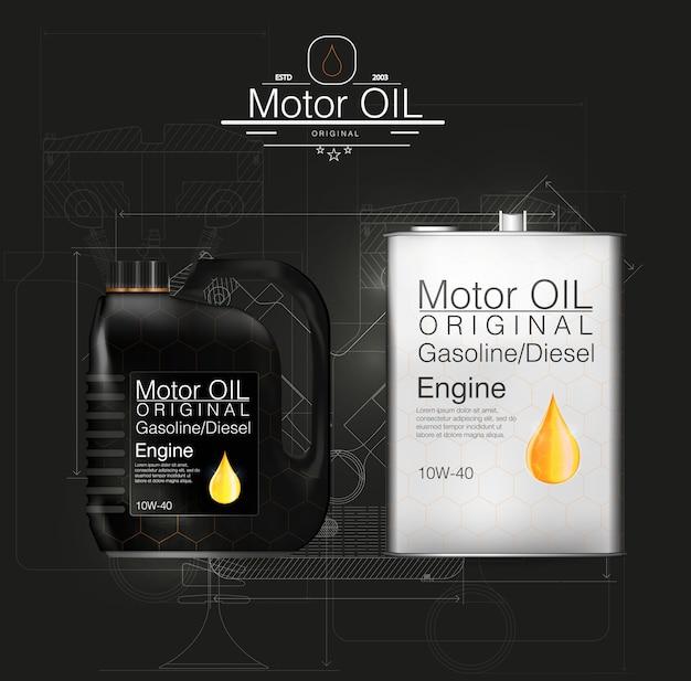 Scatola metallica bottiglia di olio motore, sfondo olio, illustrazione