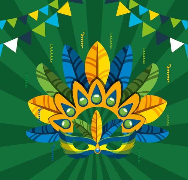 Canival della celebrazione brasiliana di rio con l'illustrazione del cappello delle piume
