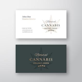 Segno astratto di schizzo di foglia di canapa cannabis cbd o logo e modello di biglietto da visita.