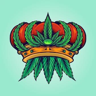 Azienda di canapa logo corona di cannabis