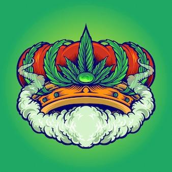Cannabis crown smoke premium logo weed