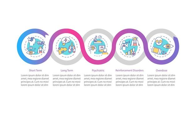 Modello di infographic di vettore di effetti di cannabis. elementi di design di presentazione delle conseguenze del fumo di erbaccia. visualizzazione dei dati con 5 passaggi. grafico della sequenza temporale del processo. layout del flusso di lavoro con icone lineari