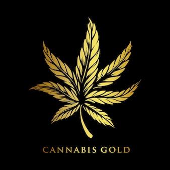 Illustrazioni aziendali di cannabis gold premium logo company