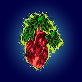 Illustrazione del cuore di cannabis