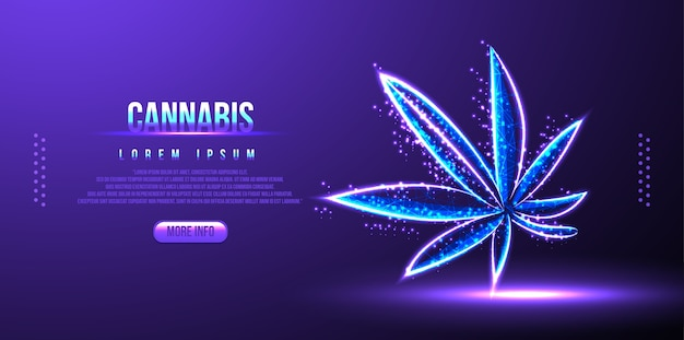 Cannabis, canapa, rete wireframe low poly