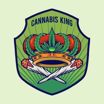 Cannabis king crown badge logo illustrazioni