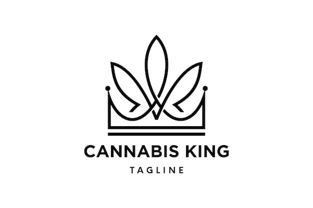 Logo del re della cannabis o logo della canapa con modello vettoriale corona