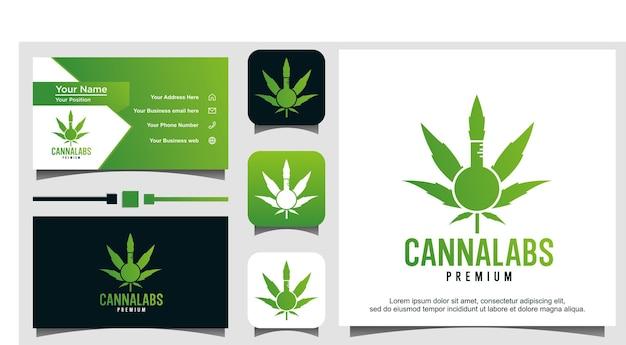 Modello di logo del laboratorio di cannabis