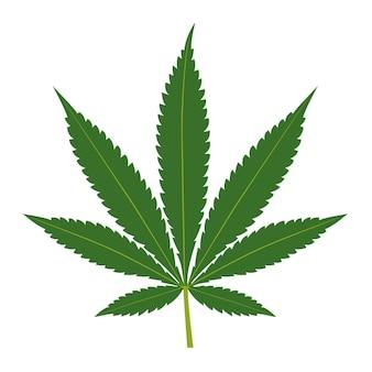 Foglia di cannabis isolata su sfondo bianco. sagoma di marijuana. illustrazione vettoriale.