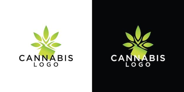 Modello di progettazione del logo della foglia di cannabis