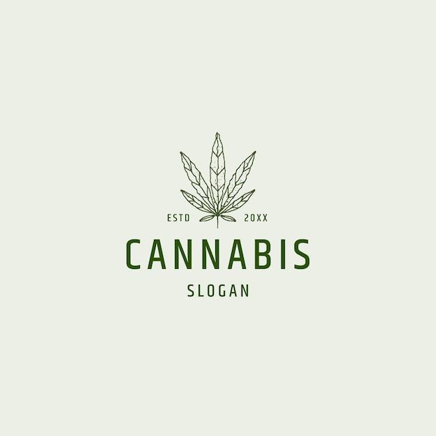 Illustrazione vettoriale del modello di progettazione dell'icona del logo della foglia di cannabis