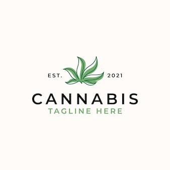 Modello di logo foglia di cannabis isolato in sfondo bianco