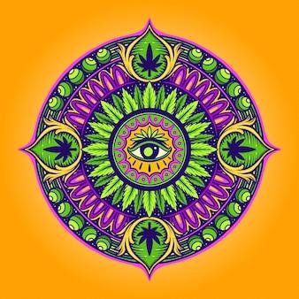Cannabis leaf mandala psichedelico illustrazioni vettoriali per il tuo lavoro logo, t-shirt di merce mascotte, adesivi e design di etichette, poster, biglietti di auguri che pubblicizzano aziende o marchi.
