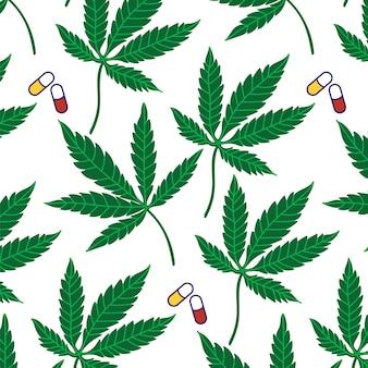 Modello di pillole di foglie di cannabis sfondo vegetale olio medicinale cbd