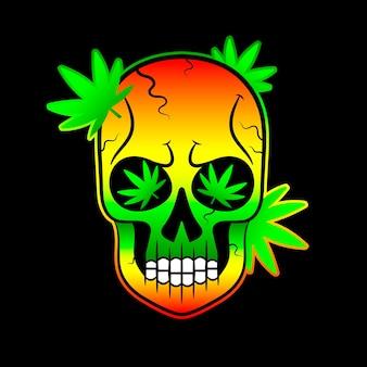Foglie di cannabis e teschio su sfondo nero grunge