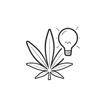 Icona di doodle di contorno disegnato a mano di cannabis e lampadina idea creativa. energia di stavia, concetto di idea di marijuana