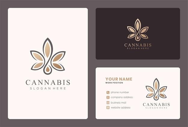 Progettazione del logo della cannabis con modello di biglietto da visita.