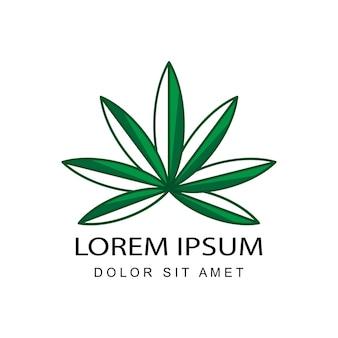 Vettore di disegno del modello di logo di cannabis con sfondo isolato