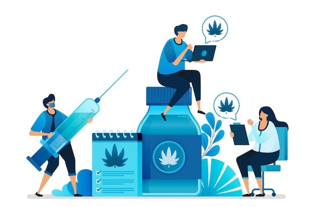 Illustrazione di cannabis e marijuana per la ricerca per la salute.