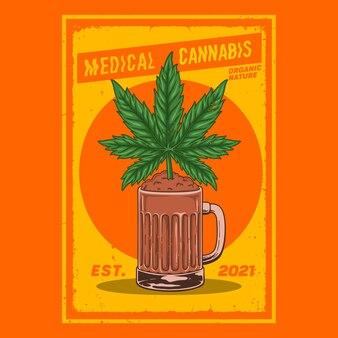 Piante di cannabis in bicchieri da birra