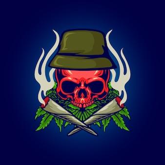 Cranio di cannabis rosso con illustrazione di fumo