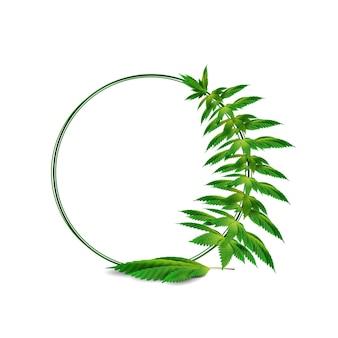 Modello di cornice rotonda di cannabis