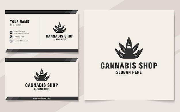 Modello di logo del negozio di cannabis in stile monogramma