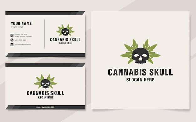 Modello di logo del teschio di cannabis in stile monogramma