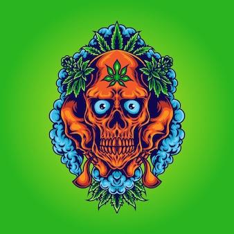 Cranio di cannabis con illustrazione di fumo di erba