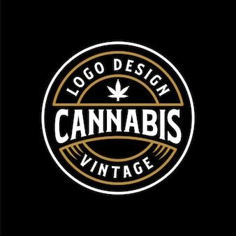 Stile di design del logo vintage retrò di cannabis