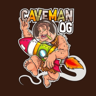 Cannabis erbaccia canapa marijuana medica rasta uomo delle caverne età della pietra razzo mascotte design logo personaggio t-shirt illustrazione