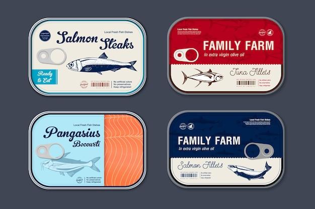 Modello di etichetta di acciughe in scatola, barattolo di latta di pesce vettoriale con coperchio dell'etichetta, concetto di design dell'imballaggio