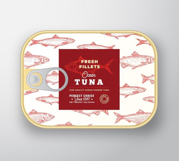 Modello di etichetta di pesce in scatola. contenitore in alluminio pesce astratto con coperchio etichetta.