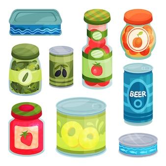 Conserve, cibo in scatola in barattoli, barattoli di vetro e contenitore metallico illustrazioni cartoon