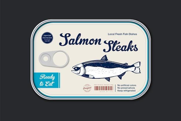 Modello di etichetta di salmone reale in scatola, barattolo di latta di pesce vettoriale con coperchio dell'etichetta, concetto di design dell'imballaggio