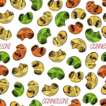 Cannelloni. sfondo senza soluzione di continuità di vari tipi di pasta. illustrazione disegnata a mano