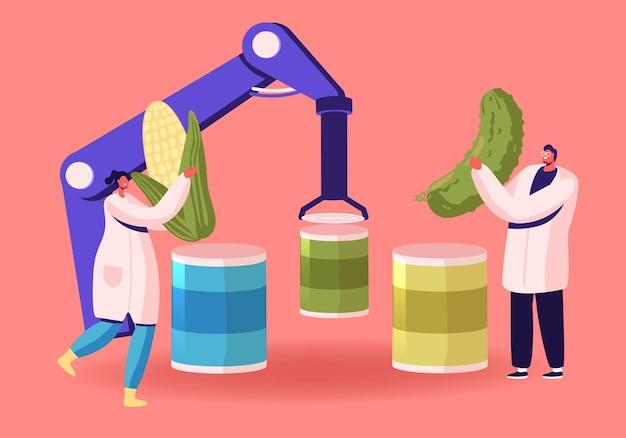 Fabbrica di conserve con il concetto di tecnologie robotiche intelligenti. cartoon illustrazione piatta