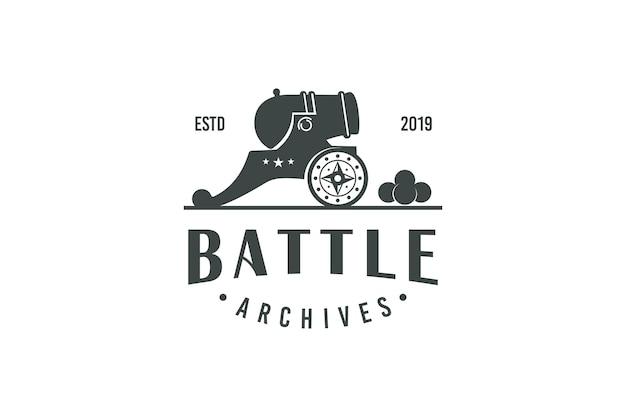 Disegno dell'illustrazione dell'annata del logo dell'artiglieria del cannone