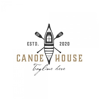 Logo dell'illustrazione della casa e della canoa, stile d'annata
