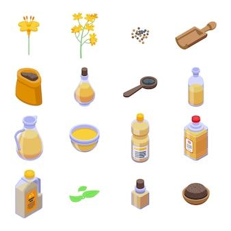 Set di icone di canola. insieme isometrico delle icone di canola per il web