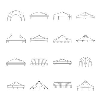 Set di icone di sporgenza capannone