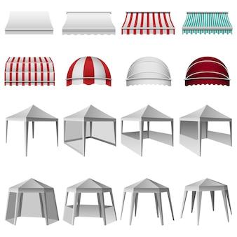 Set di mockup sporgenza tettoia canopy