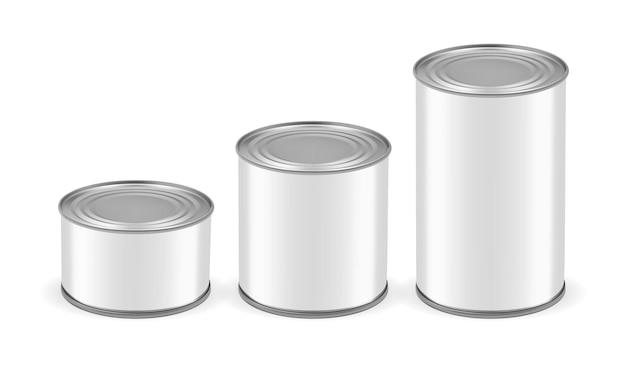 Lattine di diverse dimensioni isolate su sfondo bianco mock up vector
