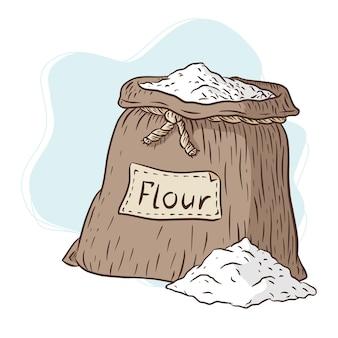 Borsa di tela con illustrazione di farina. sacco di tela disegnato a mano di farina incisa illustrazione vettoriale per emblema, logo, menu, ricetta, stampe, adesivi. vettore premium